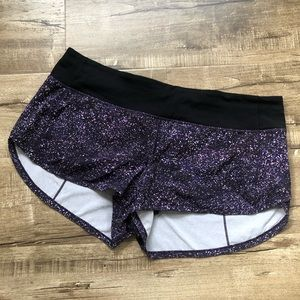 Lululemon Purple Speckled Speed Up Shorts 10